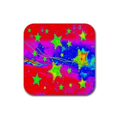 Red Background With A Stars Rubber Coaster (square)