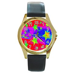 Red Background With A Stars Round Gold Metal Watch