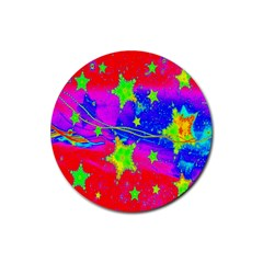 Red Background With A Stars Rubber Coaster (round)