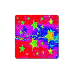 Red Background With A Stars Square Magnet
