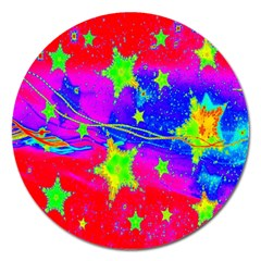 Red Background With A Stars Magnet 5  (round)