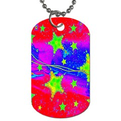 Red Background With A Stars Dog Tag (one Side)