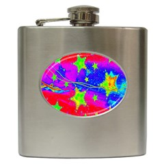 Red Background With A Stars Hip Flask (6 Oz)