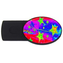 Red Background With A Stars Usb Flash Drive Oval (2 Gb)