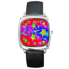 Red Background With A Stars Square Metal Watch