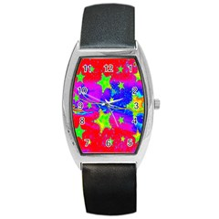 Red Background With A Stars Barrel Style Metal Watch