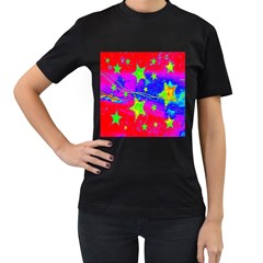 Red Background With A Stars Women s T Shirt (black) (two Sided)