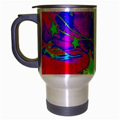 Red Background With A Stars Travel Mug (silver Gray)