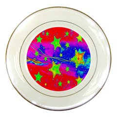 Red Background With A Stars Porcelain Plates