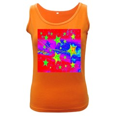 Red Background With A Stars Women s Dark Tank Top