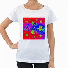 Red Background With A Stars Women s Loose Fit T Shirt (white)