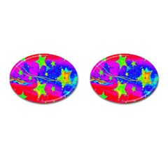 Red Background With A Stars Cufflinks (oval)