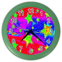 Red Background With A Stars Color Wall Clocks