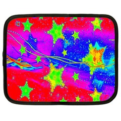 Red Background With A Stars Netbook Case (large)