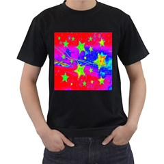 Red Background With A Stars Men s T Shirt (black)