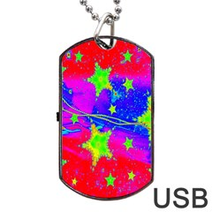Red Background With A Stars Dog Tag Usb Flash (two Sides)