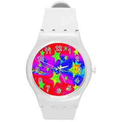 Red Background With A Stars Round Plastic Sport Watch (m)
