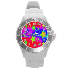 Red Background With A Stars Round Plastic Sport Watch (L)
