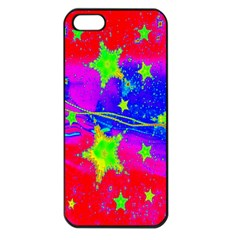 Red Background With A Stars Apple Iphone 5 Seamless Case (black)