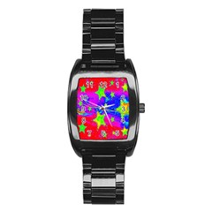 Red Background With A Stars Stainless Steel Barrel Watch