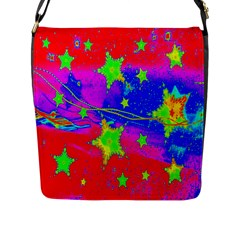 Red Background With A Stars Flap Messenger Bag (L)