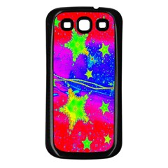 Red Background With A Stars Samsung Galaxy S3 Back Case (black)