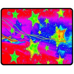 Red Background With A Stars Double Sided Fleece Blanket (medium)