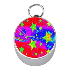 Red Background With A Stars Mini Silver Compasses