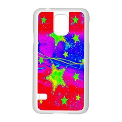 Red Background With A Stars Samsung Galaxy S5 Case (white)