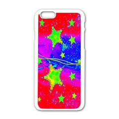 Red Background With A Stars Apple iPhone 6/6S White Enamel Case