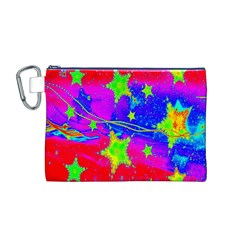 Red Background With A Stars Canvas Cosmetic Bag (m)