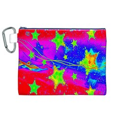 Red Background With A Stars Canvas Cosmetic Bag (xl)