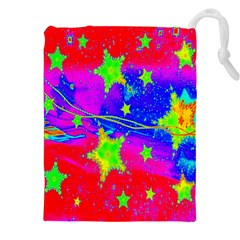 Red Background With A Stars Drawstring Pouches (xxl)