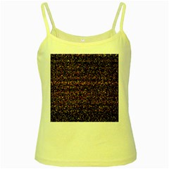 Colorful And Glowing Pixelated Pattern Yellow Spaghetti Tank