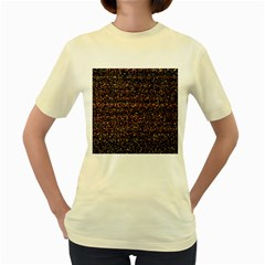 Colorful And Glowing Pixelated Pattern Women s Yellow T-Shirt