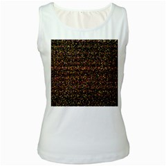 Colorful And Glowing Pixelated Pattern Women s White Tank Top