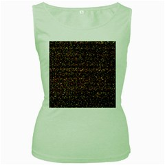 Colorful And Glowing Pixelated Pattern Women s Green Tank Top