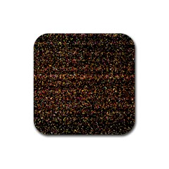 Colorful And Glowing Pixelated Pattern Rubber Square Coaster (4 Pack)