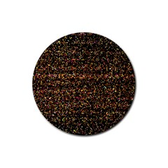 Colorful And Glowing Pixelated Pattern Rubber Coaster (round)