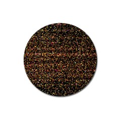 Colorful And Glowing Pixelated Pattern Magnet 3  (round)