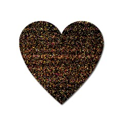 Colorful And Glowing Pixelated Pattern Heart Magnet