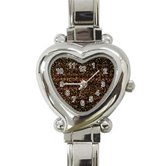 Colorful And Glowing Pixelated Pattern Heart Italian Charm Watch