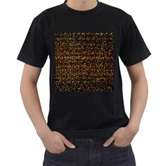Colorful And Glowing Pixelated Pattern Men s T-Shirt (Black) (Two Sided)