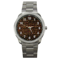 Colorful And Glowing Pixelated Pattern Sport Metal Watch