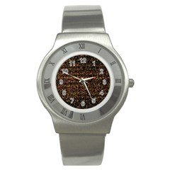 Colorful And Glowing Pixelated Pattern Stainless Steel Watch