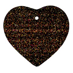 Colorful And Glowing Pixelated Pattern Heart Ornament (two Sides)