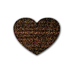 Colorful And Glowing Pixelated Pattern Rubber Coaster (heart)