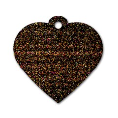 Colorful And Glowing Pixelated Pattern Dog Tag Heart (two Sides)