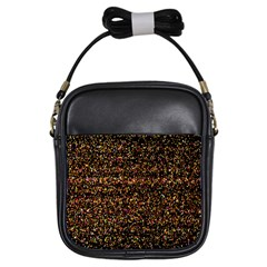 Colorful And Glowing Pixelated Pattern Girls Sling Bags