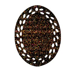 Colorful And Glowing Pixelated Pattern Oval Filigree Ornament (two Sides)